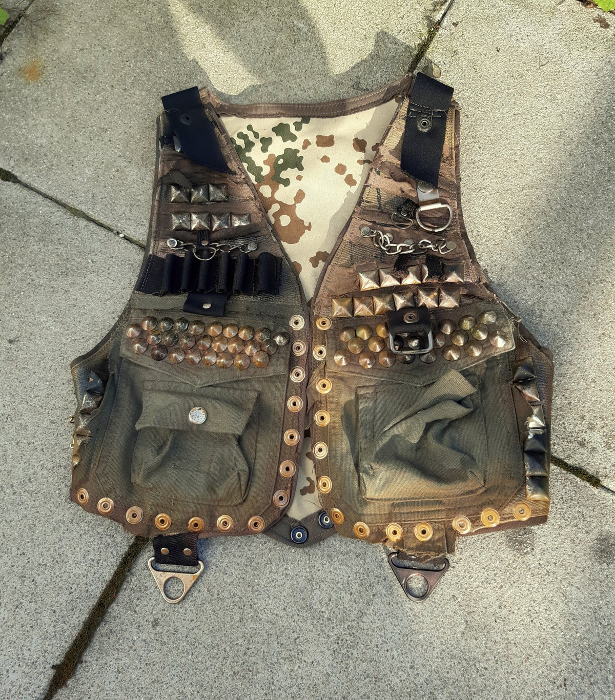 Image of GUERILLA SKULL AND BARBED WIRE STUDDED VEST