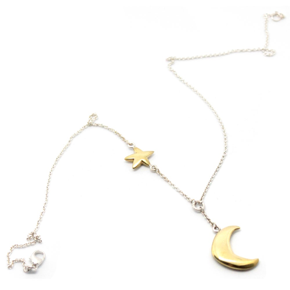 Image of PUFFY MOON AND STAR NECKLACE