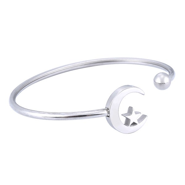 Image of Moon and Star Bangle Bracelet (Stainless Steel)