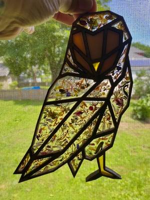 Image of Flower Petal Confetti Owl Window Hanging