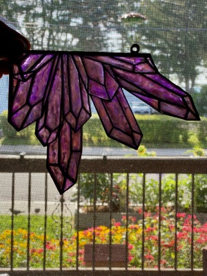 Image of Crystal Corner Faux Stained Glass - Purple