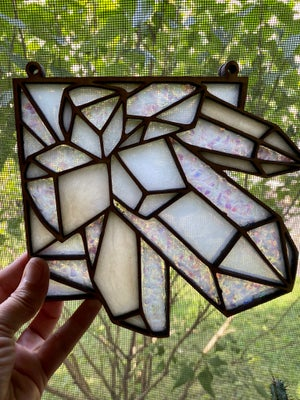 Image of Crystal Corner Faux Stained Glass - White