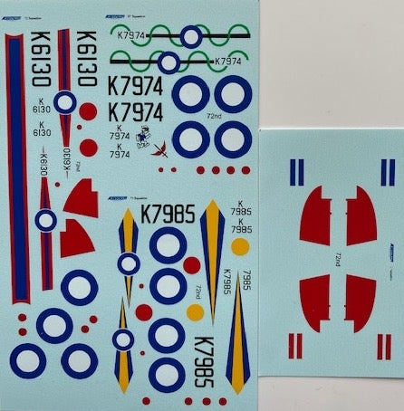 Image of Gloster Gladiator decals for 72, 73 and 87 Sqn. 1/72 scale