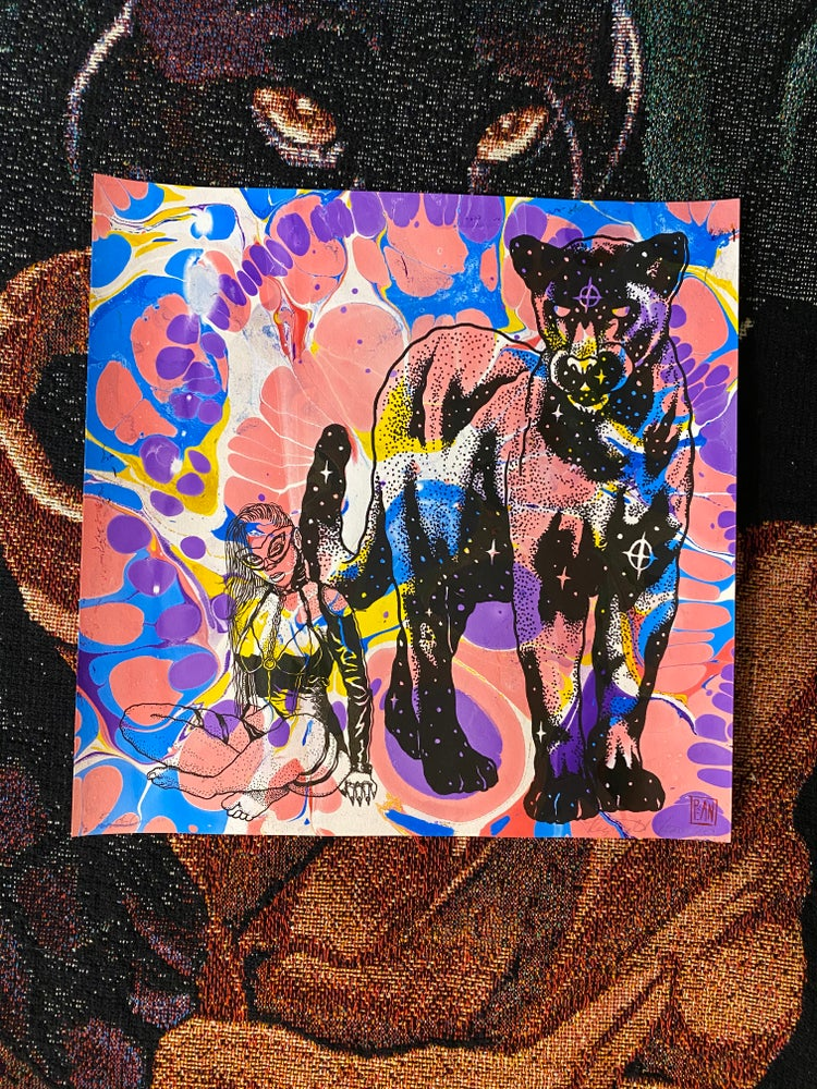 Image of 'Mistress of The Cosmic Panther' marbled print