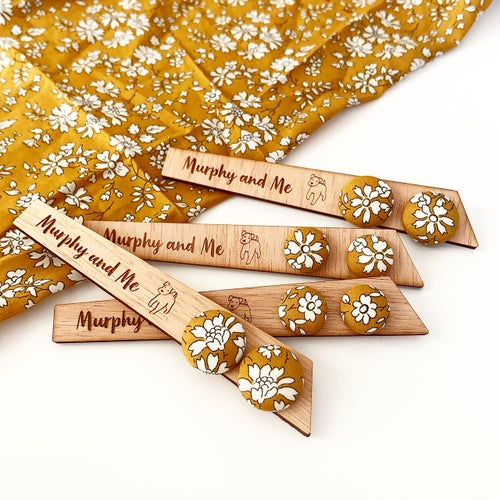 Image of Mustard Liberty Floral Fabric Studs