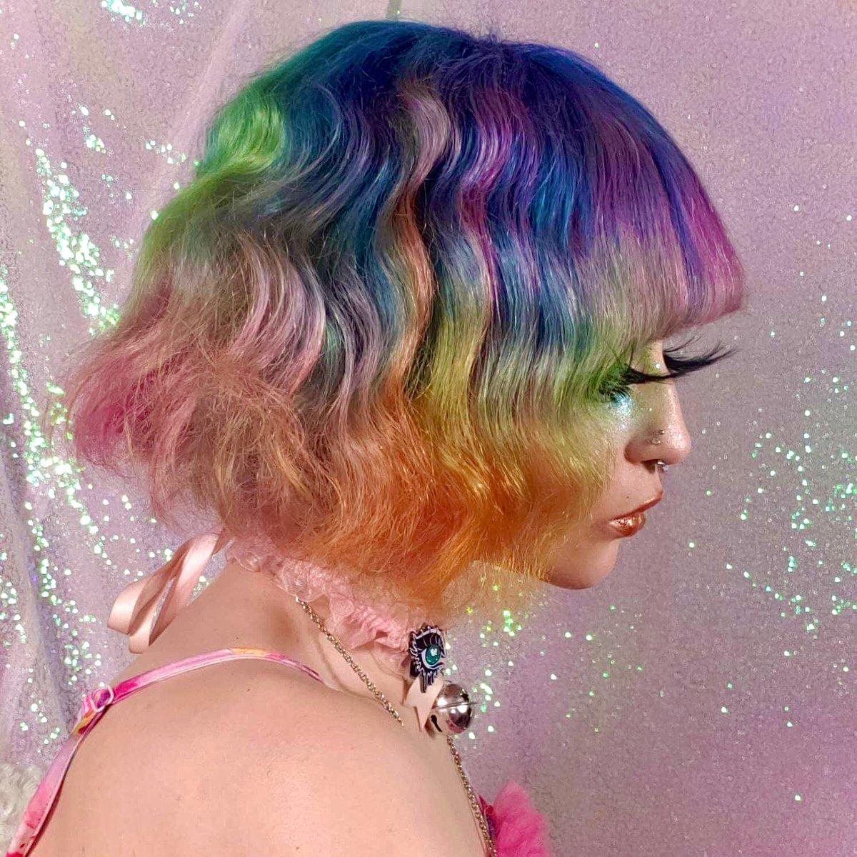 Image of Muted Rainbow Human Hair Wig