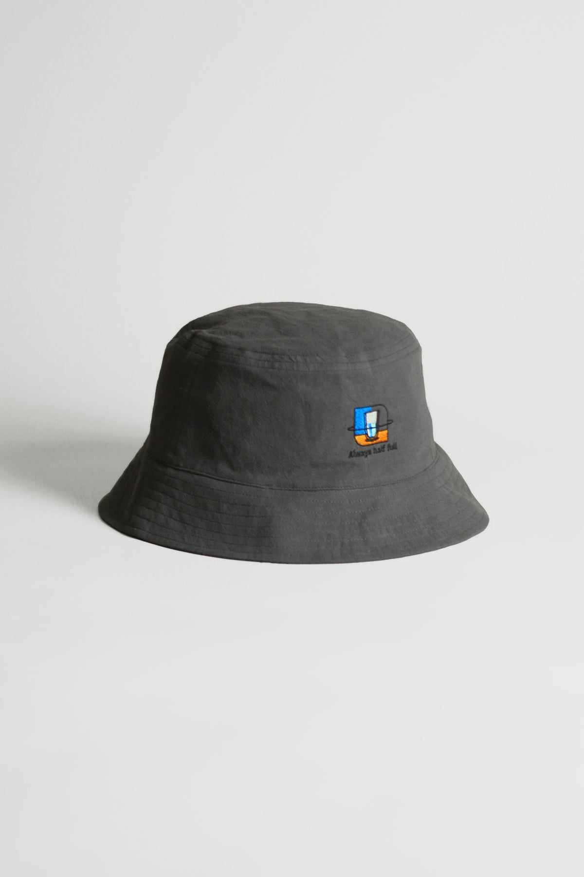 "Graphic Embroidery Tee - ""Always Half Full"" Bucket Hat"