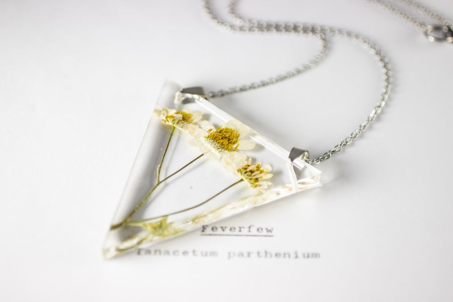 Image of Feverfew (Tanacetum parthenium) - Triangular Pressed Pendant #1