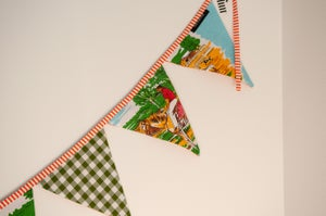 Image of Bunting ~ Horses + Sheep with Moss Green Gingham