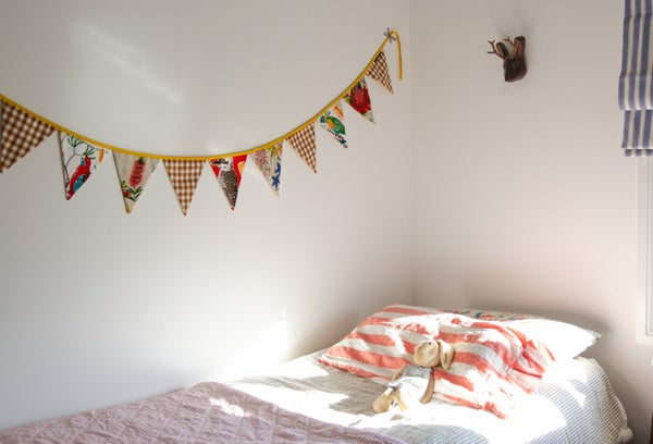 Image of Bunting ~ Wildflowers + Birds with Mocha Gingham