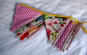 Image of Bunting ~ Wildflowers + Birds with Pink Gingham