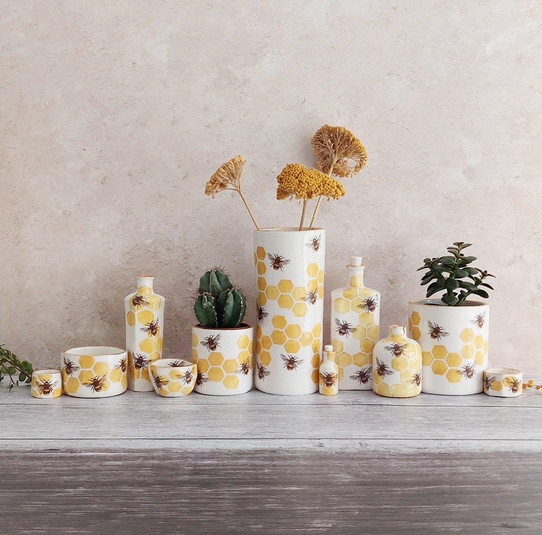Porcelain bee vase