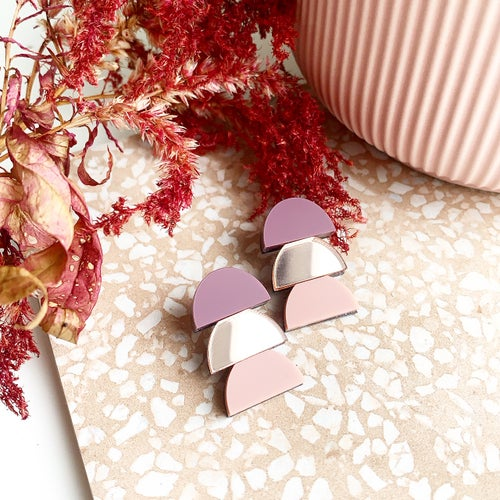 Image of Rose Stacked Trio Studs