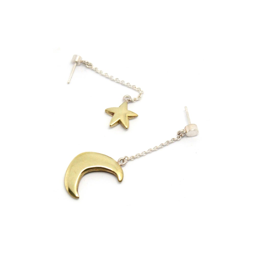 Image of PUFFY MOON AND STAR EAR RINGS