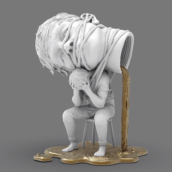 Image of EGO Sculpture White and Gold by Miles Johnston