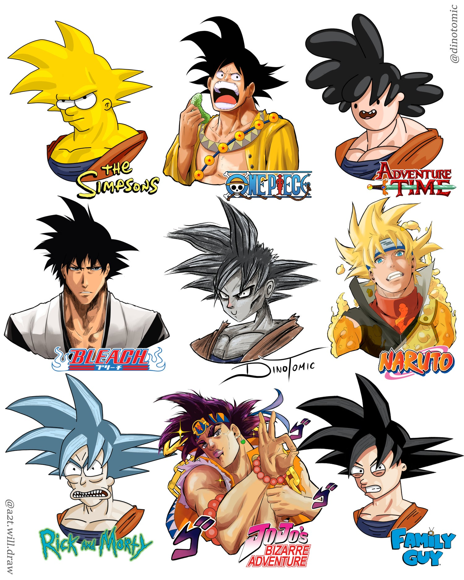 Image of #240 Goku in 9 styles