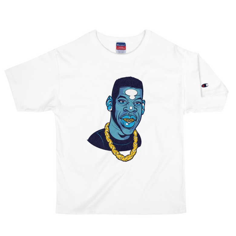 Image of Reasonable Doubt (Blue Magic / White Champion) Tee