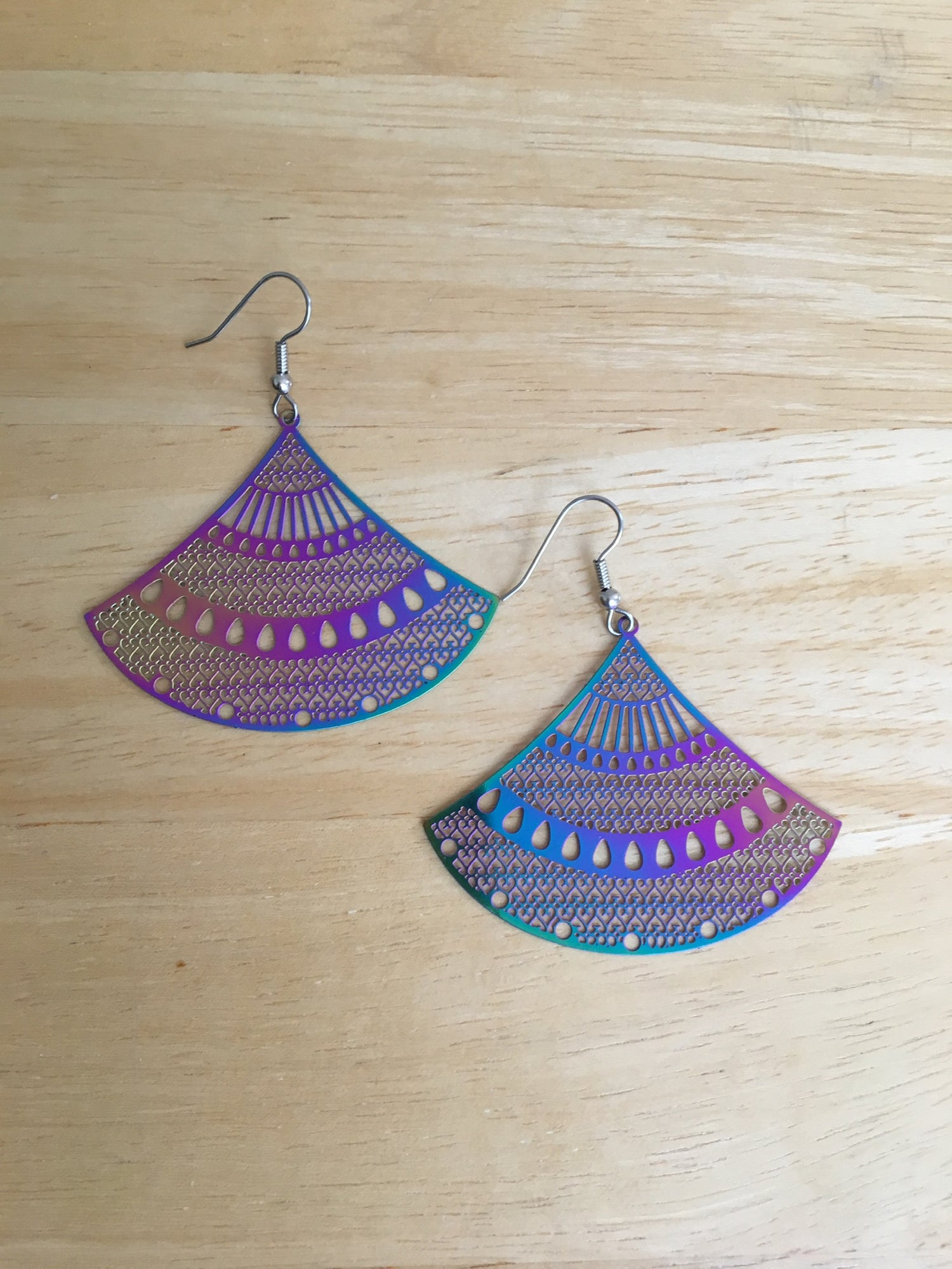 Image of Metal Earrings - Leaf, Fan, and Geometric Shapes