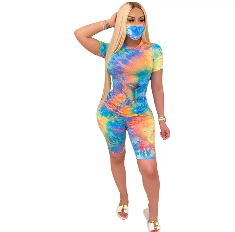 Image of Tie-dye 2 piece with Mask