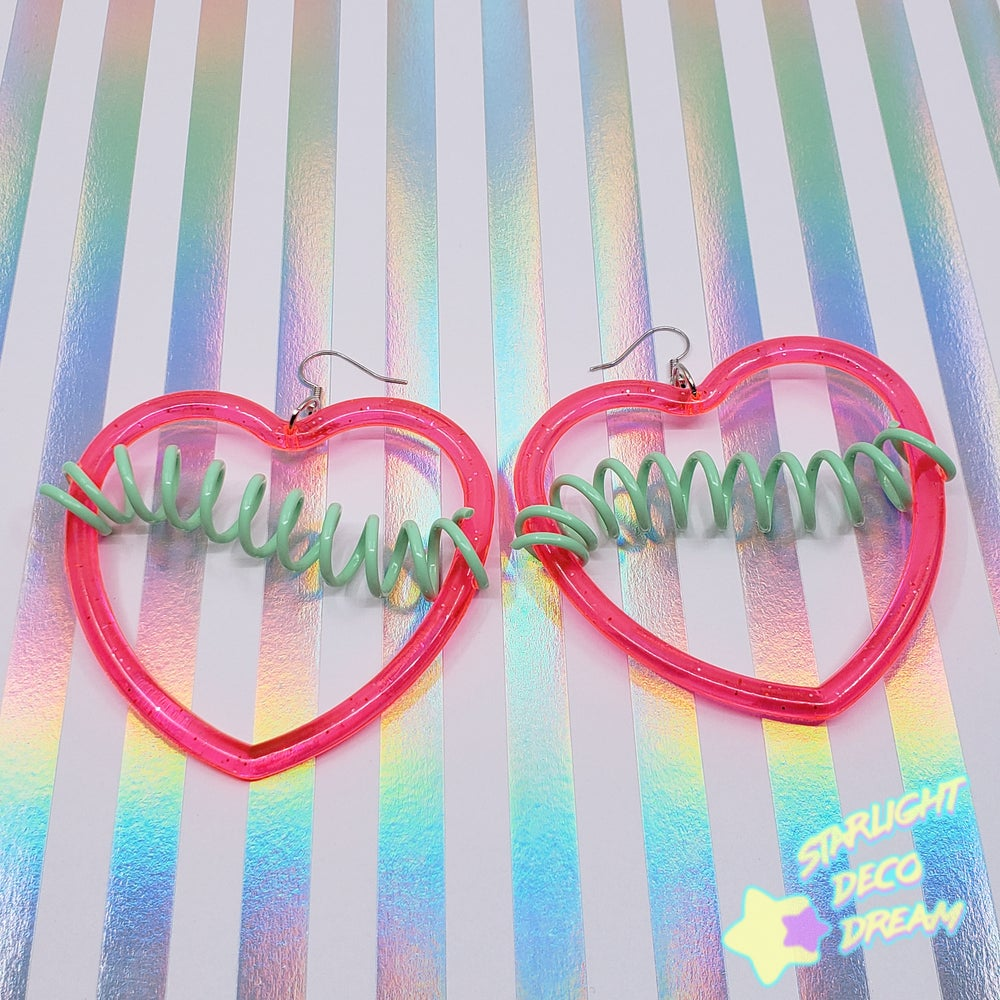 Image of Glittering Heart Totally Rad Heart Hoop Earrings / Hot Pink with Mint Green Spirals