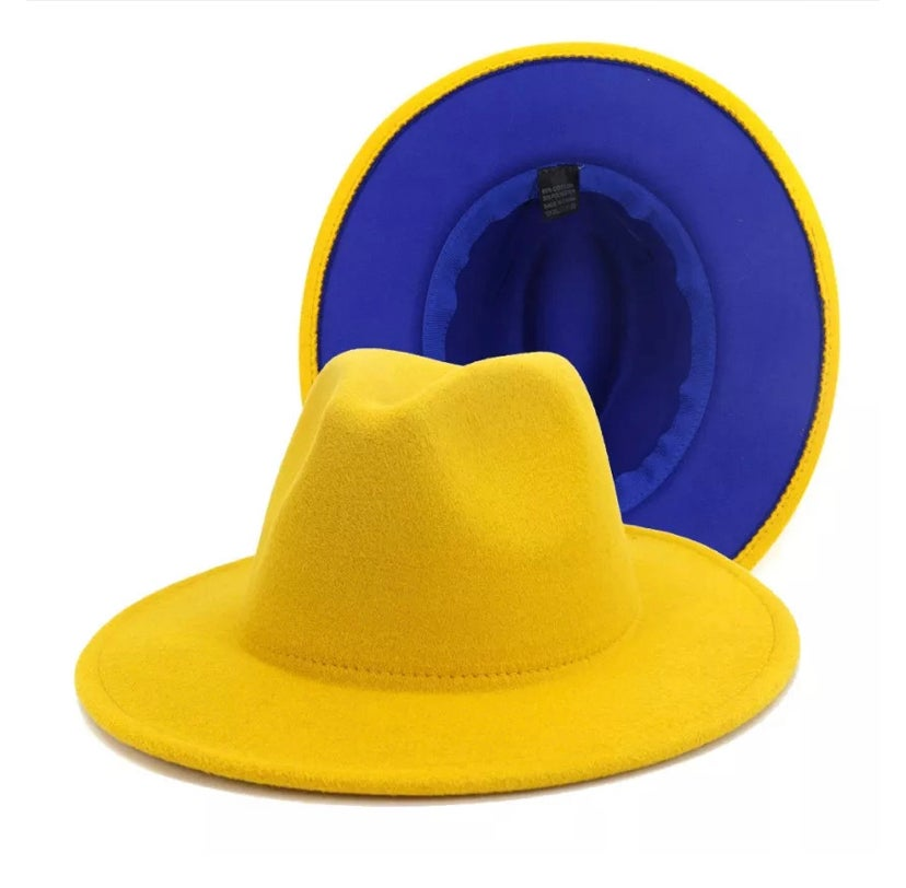 Image of Mustard/Royal Blue bottom Fedora
