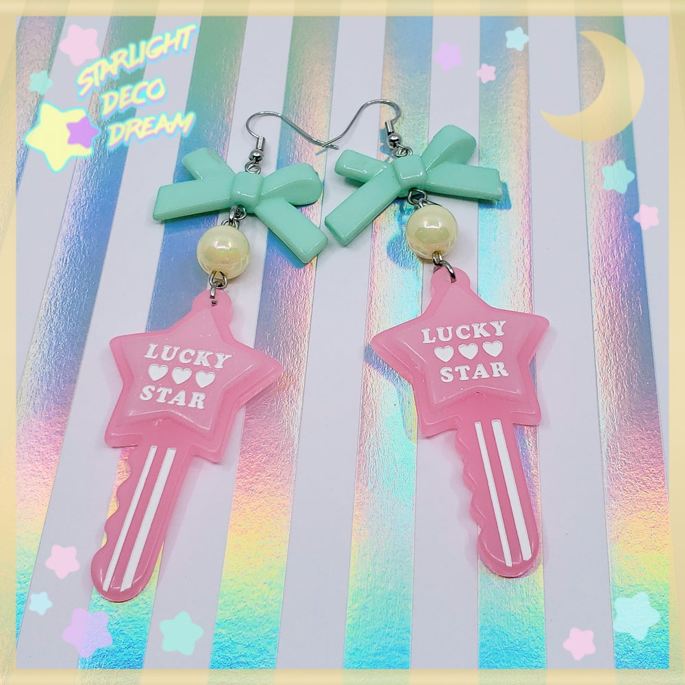 Image of Lucky Star Toy Key Earrings