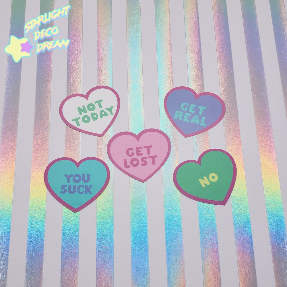 Image of NOT So Hateful Hearts VINYL Sticker Pack of 5 Stickers | Mean Conversation Hearts