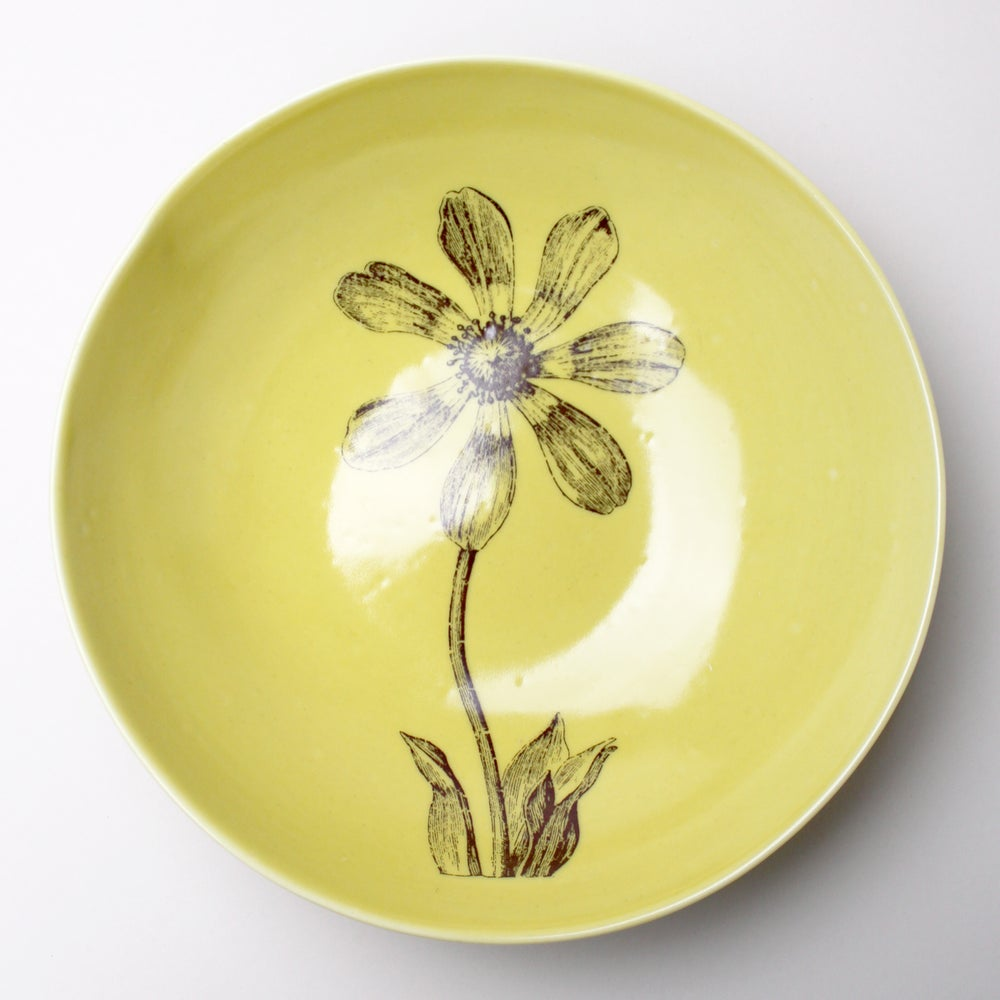Image of pasta bowl with cosmos, mustard