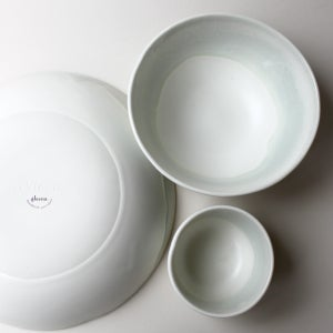 Image of celadon watercolor set of three serving bowls