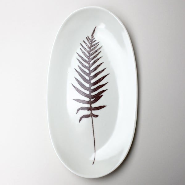 "Image of 12"" serving tray with fern, ivory"