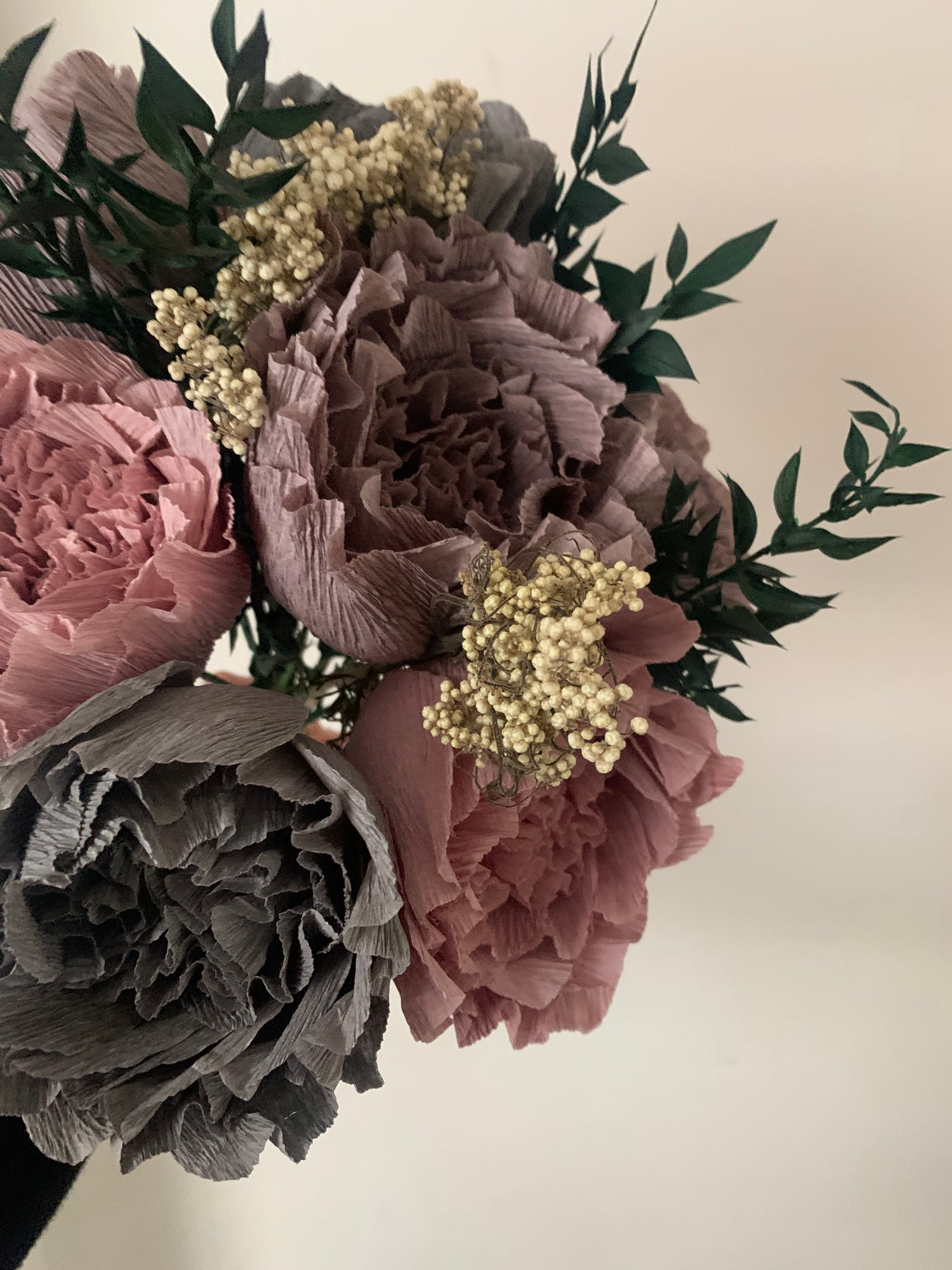 Image of Peony Bouquet - Mauve, Light Grey, Dark Grey