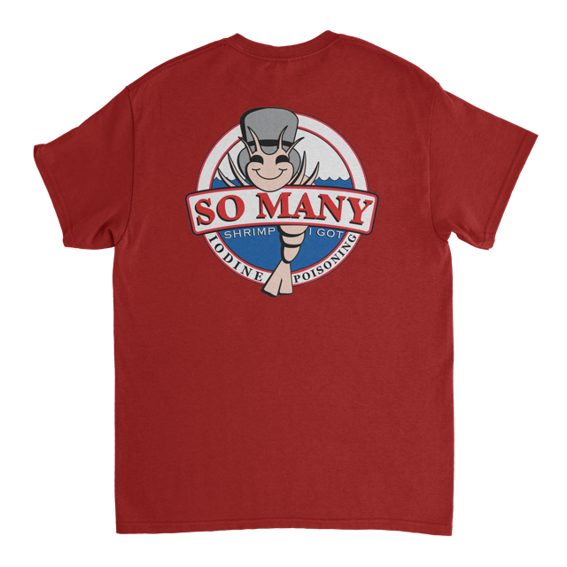 """Image of Cutty Mart x The Homie Depot """"So Many Shrimp"""" tee (Red)"""