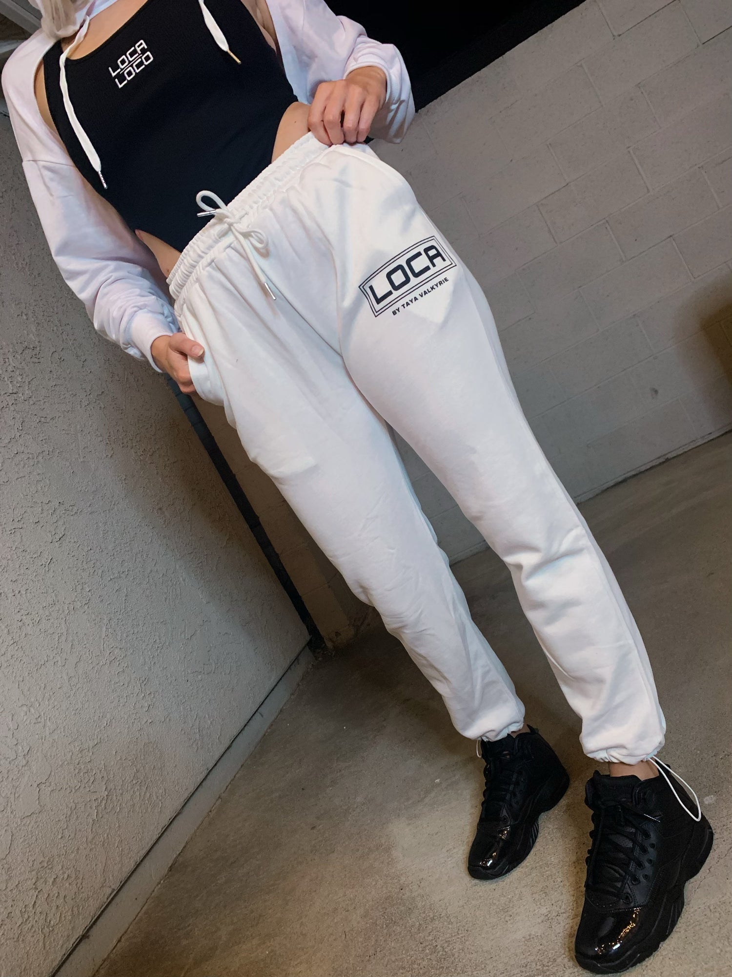 Image of LOCA High Waisted Sweatpants in Vanilla