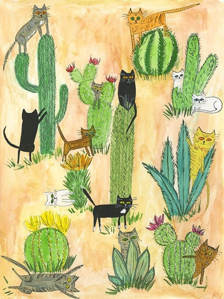 Image of Cactus Cats. Limited edition print.