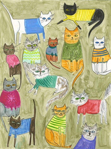 Image of Thirteen sweater wearing cat. Limited edition print.