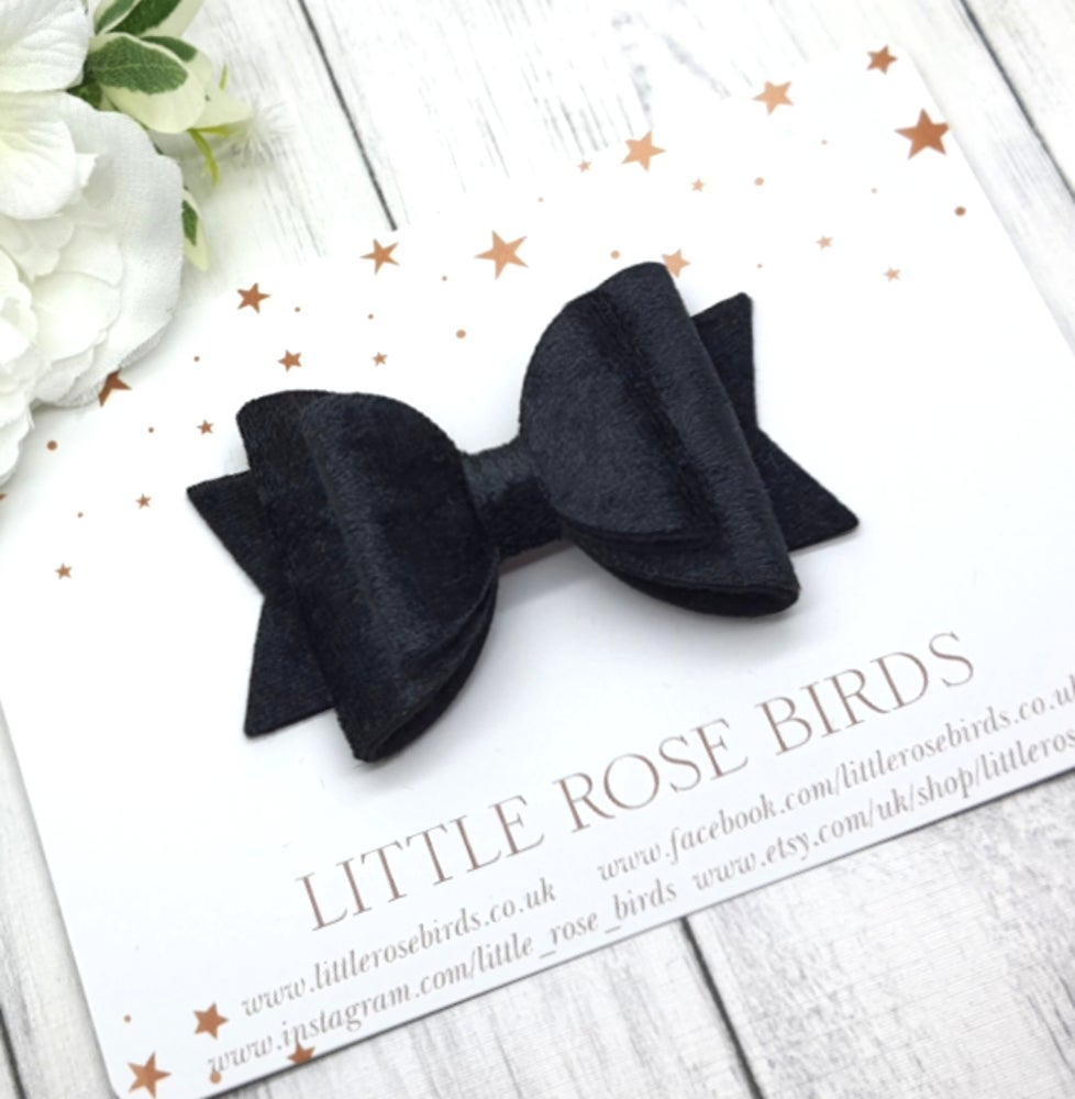 Image of Black Velvet Bow - Choice of Headband or Clip