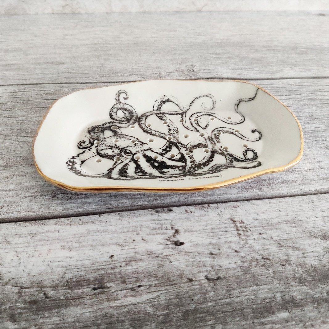Porcelain octopus soap dish