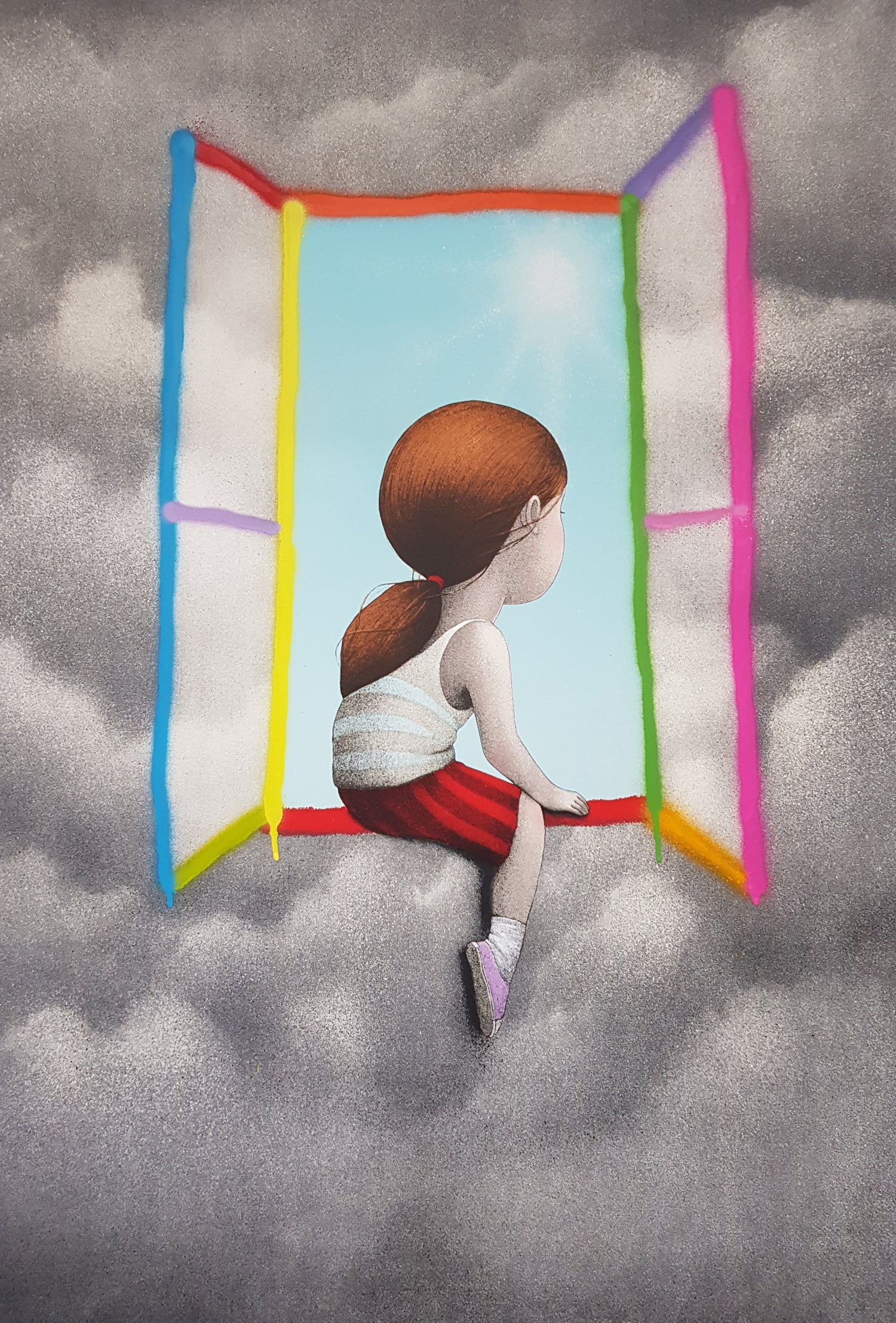 """Image of SETH """"A LA FENETRE / AT THE WINDOW"""" - UNIQUE HAND FINISHED LITHOGRAPH / IDEM PARIS - 103CM  X 70.5CM"""