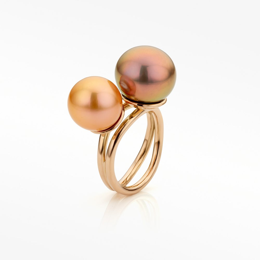 Image of 'Coup de cœur' ring in rosegold and Edison pearls - rosé gouden ring met Edison parels