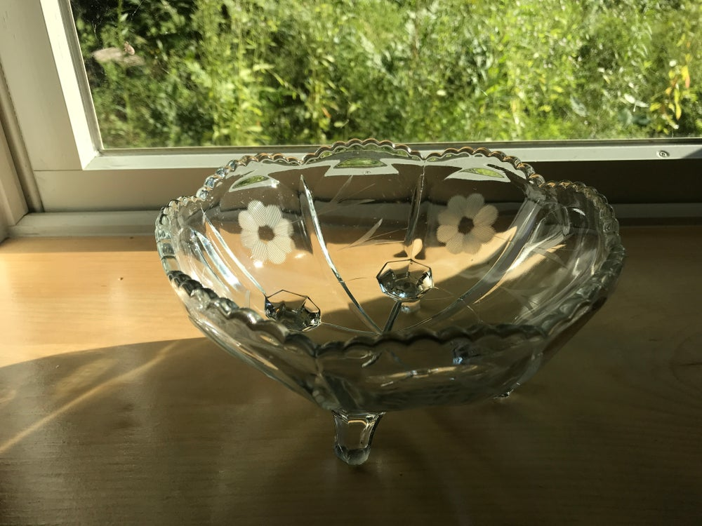 Image of Antique Glass Bowl Floral design, Wedding Gift, Anniversary Gift, Holiday Gift