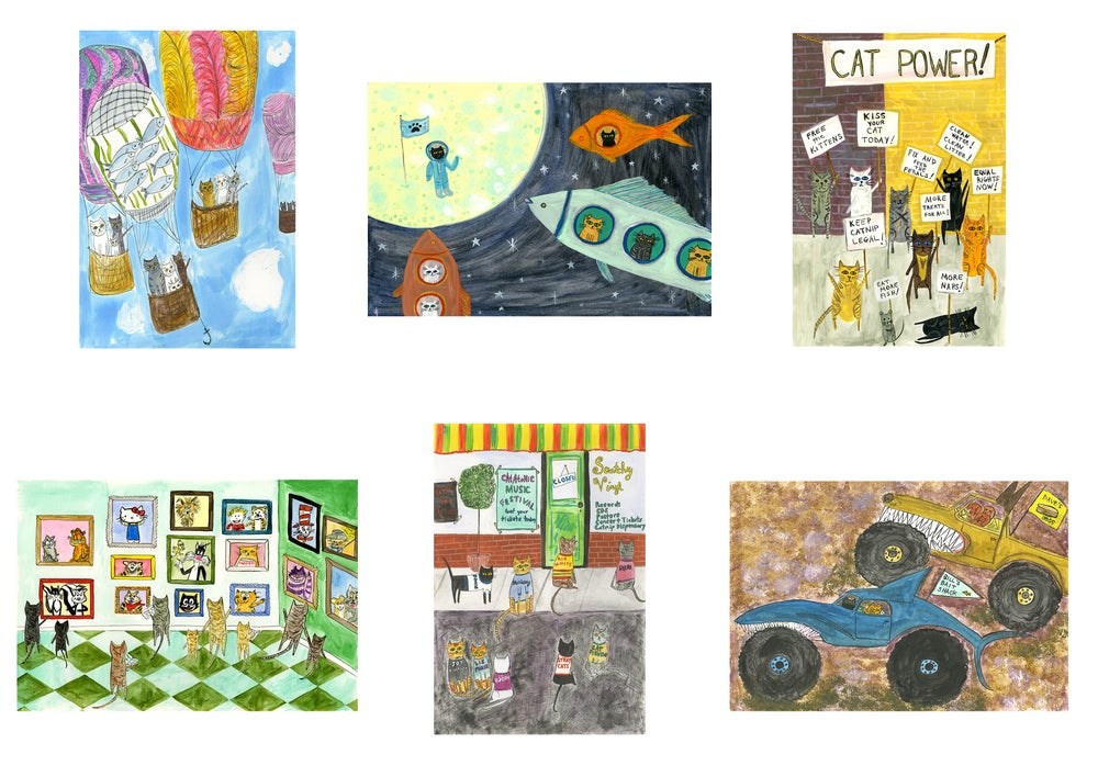 Image of Cats going places, doing things. note cards