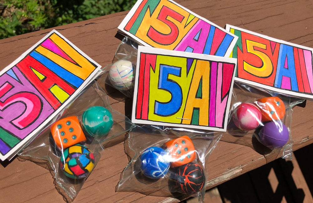 Image of Dyed Dice custom Bouncy Ball 5A packs