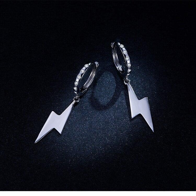 Lightning Bolt Cubic Zircon Earrings (925 Silver)