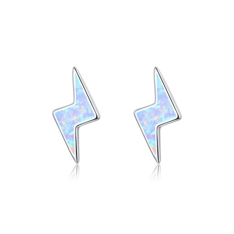 Opal Lightning Bolt Stud Earrings (925 Silver)