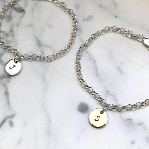 Image of Personalised Tiny Disc Charm Bracelet