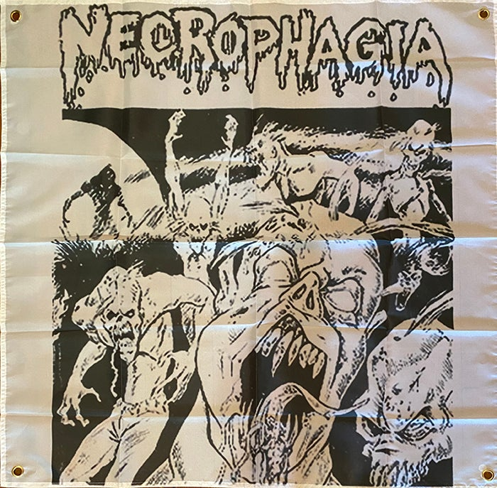 "Image of Necrophagia "" Nightmare Continues "" Flag / Tapestry / Banner"
