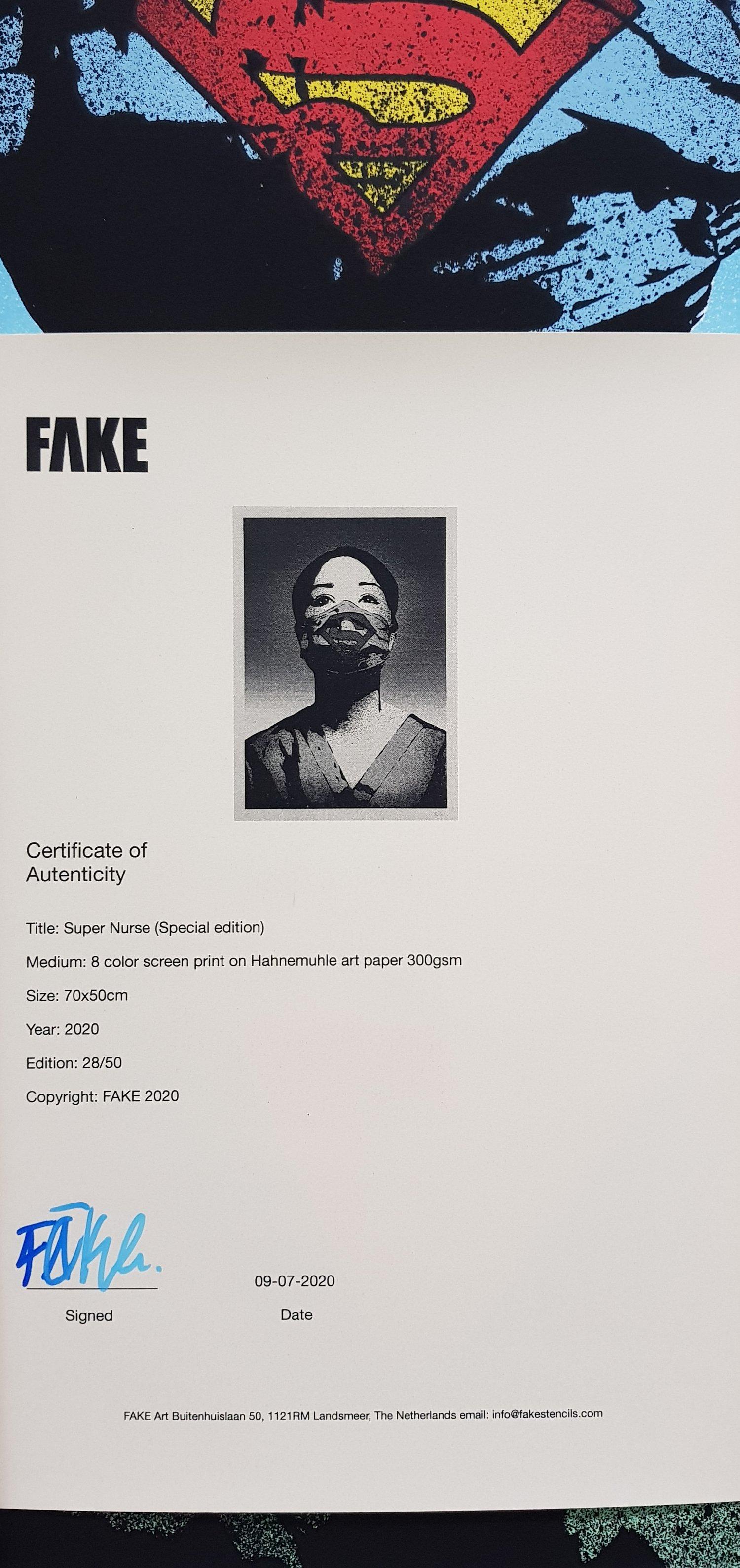 "Image of ""SUPER NURSE"" BY FAKE - 6 COLOUR SCREENPRINT - LTD ED 50 - 70CM X 50CM"