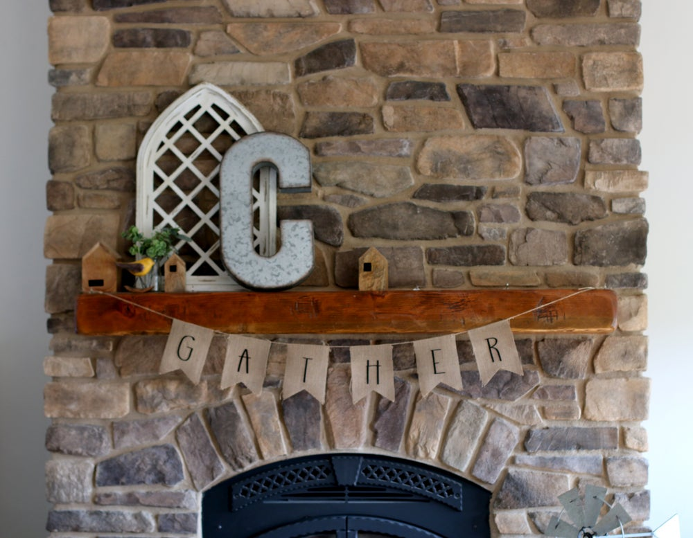 Image of GATHER Burlap Farmhouse Banner
