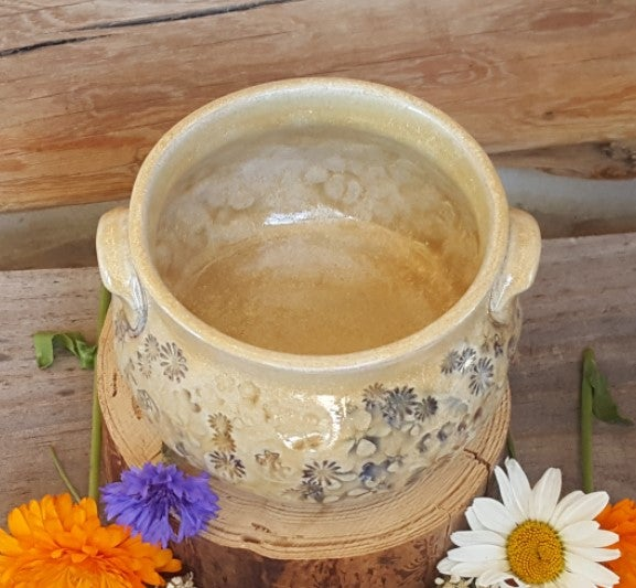 Image of Two handled small bowl: Mountain Flower Honey #1