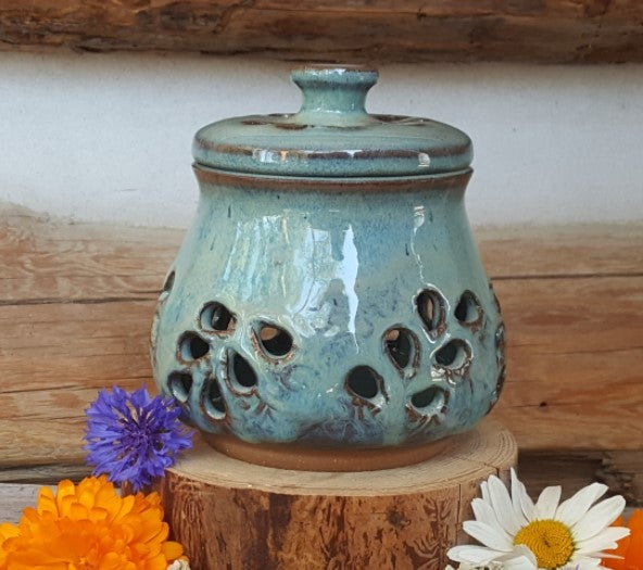 Image of Hand-carved little stash jar with lid: Glacial Waters